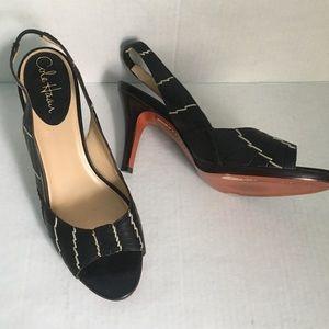 Cole Haan Black Sling Back Heels Peep Toe Size 9